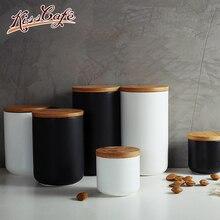 Black/White Coffee Beans Powder Storage Bottles Moisture Proof Seal Jar Kitchen 260/800/1000ml Household Accessories