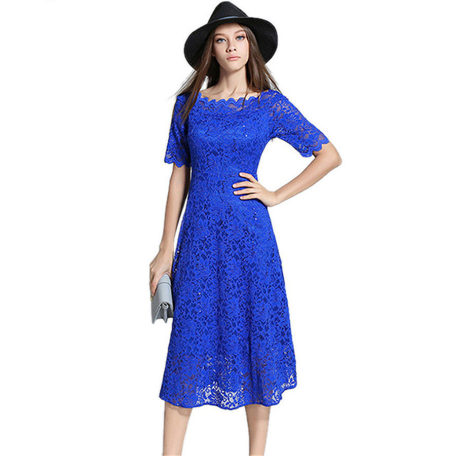 2018 New Fashion Summer Autumn Sequined Lace Dress Women ...