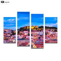 CHENFART 4 Pieces Wall Art Pictures For Living Room Home Decor Lisbon Portugal Night Town Landscape Canvas Painting No Frame