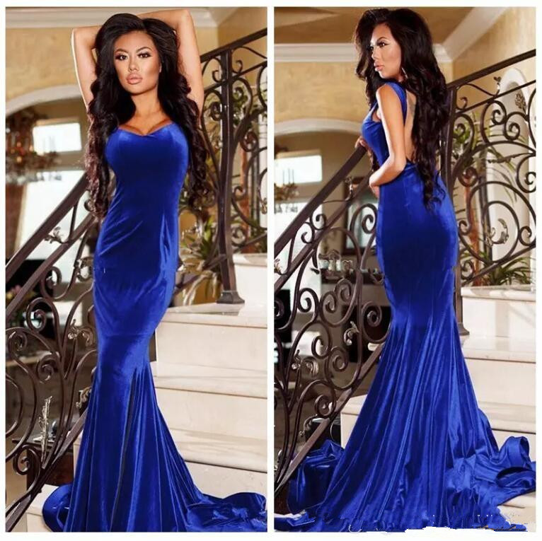 2019 Royal Blue Velvet Mermaid Prom Dresses Sexy Straps Backless Formal Evening Gowns Robe de Soiree Cheap Party Wear