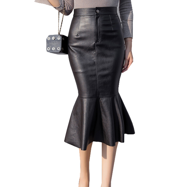 8bf6e36153 Sexy High Waist Faux Leather Skirt Jupe Saias Women Autumn Winter Long  Skirts Leather Pencil Trumpet Black Skirt Faldas Mujer