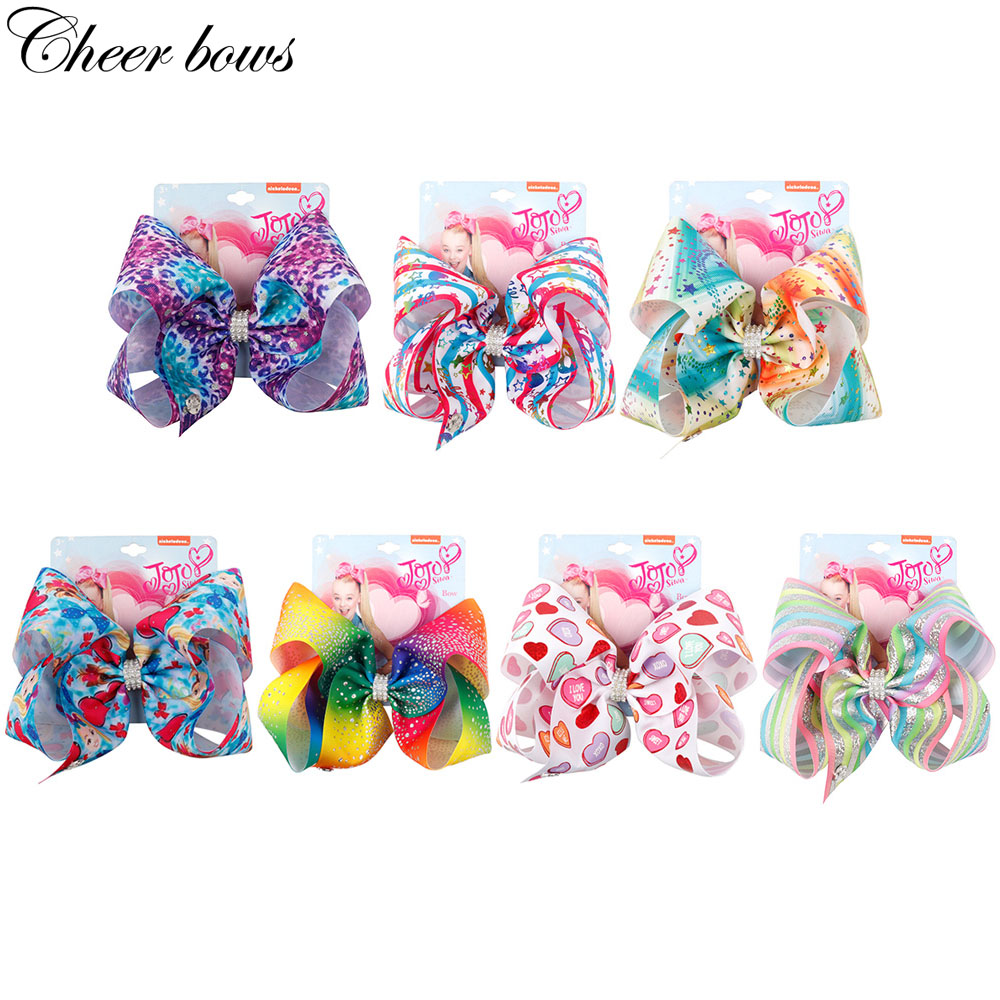 "8/"" Hair Bows Hairgrips Kids Hair Accessories Ribbon JoJo Bow Hair Clips For Girl"