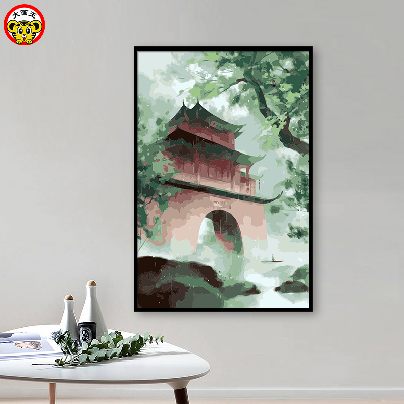 painting by numbers art paint by number Diy Chinese Wind Creek Ancient City Landscape Background Wall Manually decorated Paint