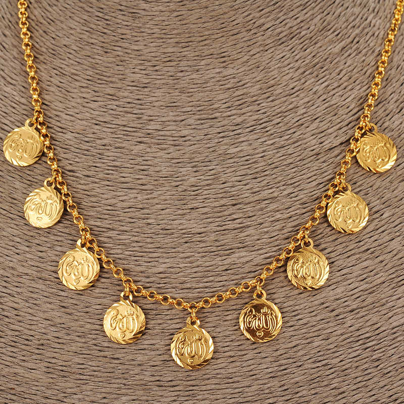 45cm high quality  Islam Coin chocker Chain Jewelry Arab Necklace Gold Color Africa Middle EastCoin /Israel/Turkey/Egypt gift