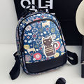 2016 New Fashion Pu Leather Girl  Backpack Cartoon Cat Composite knapsack Preppy School Student Style Rucksack Mochila XA1782C
