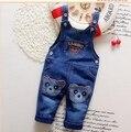 2016 nuevo bebé de la llegada jeans denim pant pantalón bebé de dibujos animados oso diseño de la cabeza