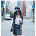 2016 Jaqueta Verde Do Exército Das Mulheres Nova Chegada de moda Feminina Impresso Camouflage Jacket Chaquetas Mujer Outono Casacos Para Revestimento Das Mulheres