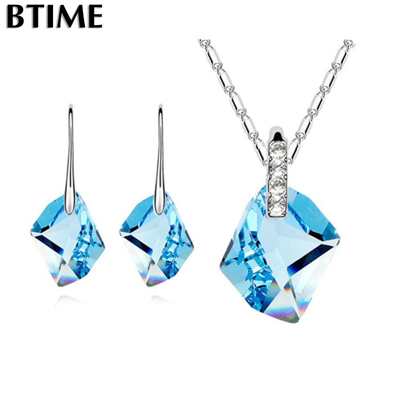 Btime Classical Made Genuine Statement Necklace Earrings Jewelry Set Silver Women Accessories Crystals From Swarovski