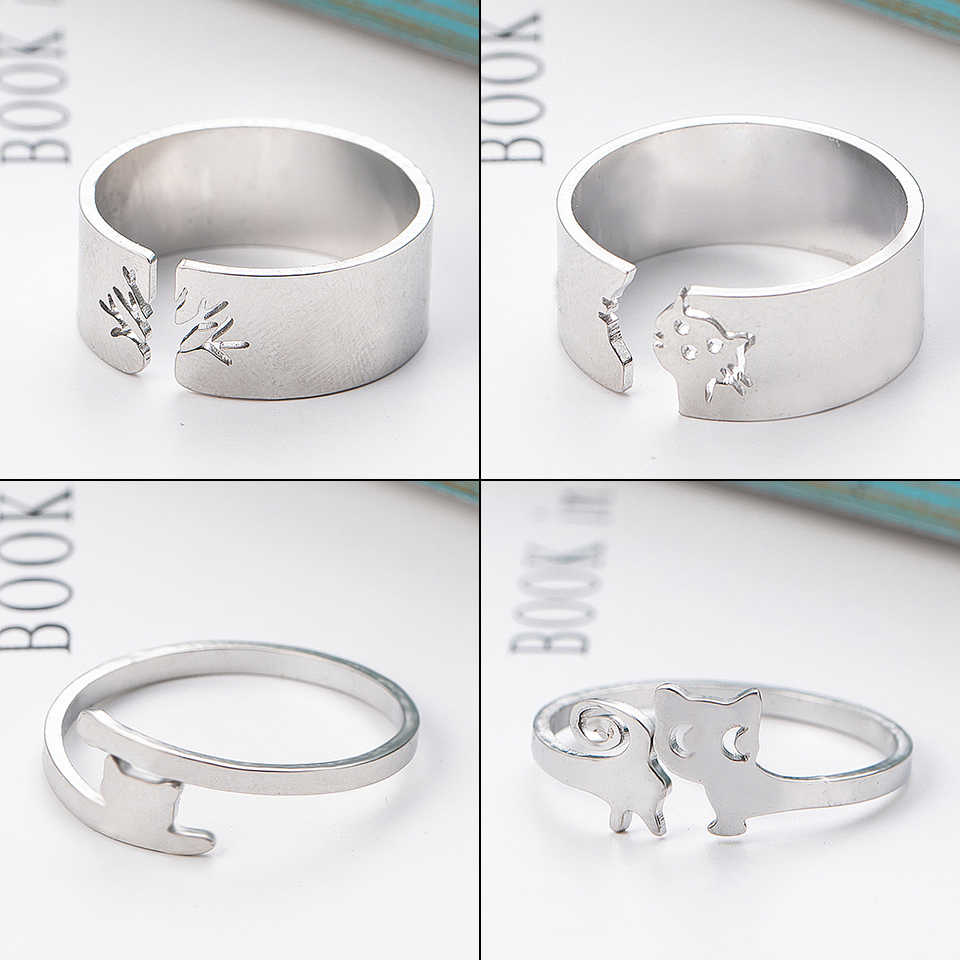 2019 Multiple Styles Silver Stainless Steel Animal Heart Leaf Cat cute Ring Set Women Rings for Womens Wedding Anniversary Gift