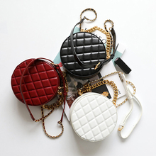 Fashion Circular Genuine Leather Top-Handle Bags Chain Strap Women Shoulder Bag Round Shape Solid Color Crossbody For