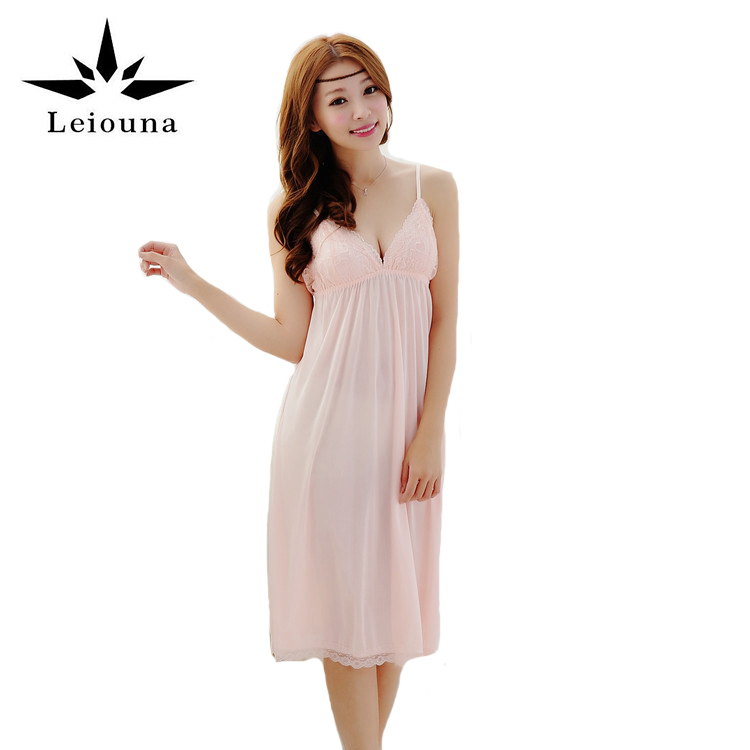 Leiouna 2017 New Sleeveless Silk Women Sleepwear Strap Slim Waist Sexy Nightgown Loungewear Lace Nightwear Sexi Underwear