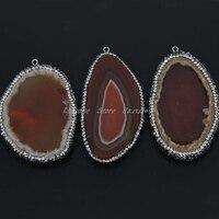 5pcs Lot Crystal Zircon Rhinestone Edged Pendant Smooth Red Druzy Agate Slab Beaded Reiki Chakra Healing