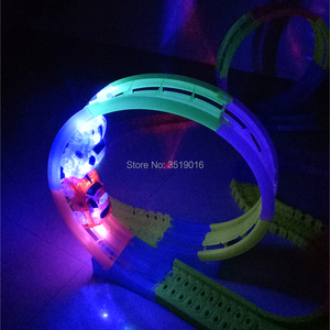 Image 5 - Glow in the Dark DIY Rail Magical Tracks 360 stunt Loop Flexible assembly Luminous track Race Car with LED Light Up  Vehicles