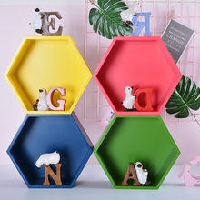 Nordic Contracted Hexagon Shelf Creative Wooden Arts Crafts Wall Hanging Sitting Room Bedrooms Place Adorn Household Decorations(China)