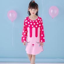 Spring and Autumn Big girls Nightgown Pajamas kids long sleeved nightdress cute cartoon child female baby sleeping dress 2-12 T