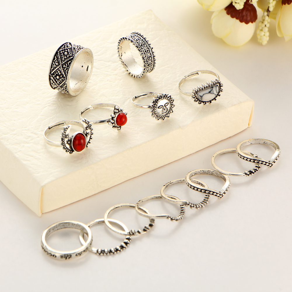 HTB1471UQXXXXXbmXVXXq6xXFXXXQ Hip 14-Pieces Tribal Boho Vintage Silver Moon And Sun Knuckle Ring Set For Women