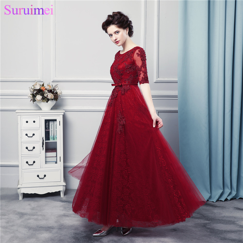Lace Prom Dresses With Pearls Dark Red With Lace Applique Tulle ...