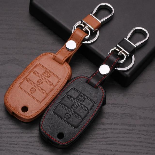 Leather Wallet Key For Kia Rio Sportage 2014 Venga Ceed Sorento Cerato K2 K3 K4 K5 Leather Keychains For Kia Case Key Car Smart