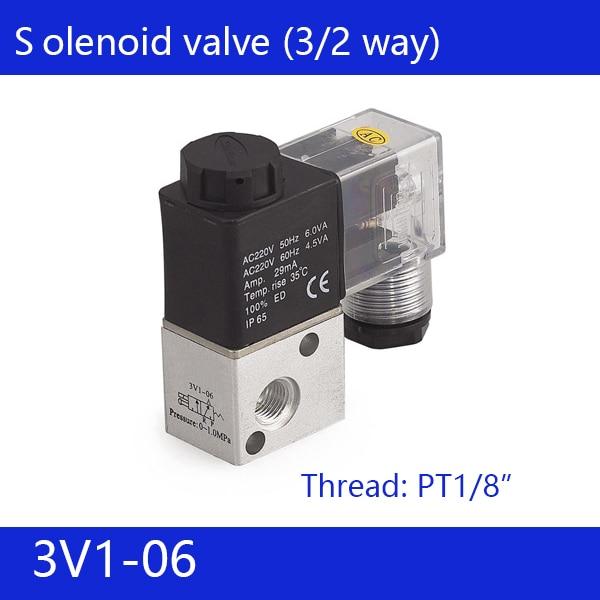 Free shipping good quality 3 port 2 position Solenoid Valve 3V1-06,have DC24v,DC12V,AC24V,AC36V,AC110V,AC220V,AC380V 2pcs free shipping 3 port 2 position solenoid valve coil belt line type 3v110 06 no normally open 1 8 dc12v dc24v ac220v