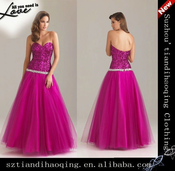 Aliexpress.com : Buy Sweetheart strapless beading sequined tulle ...
