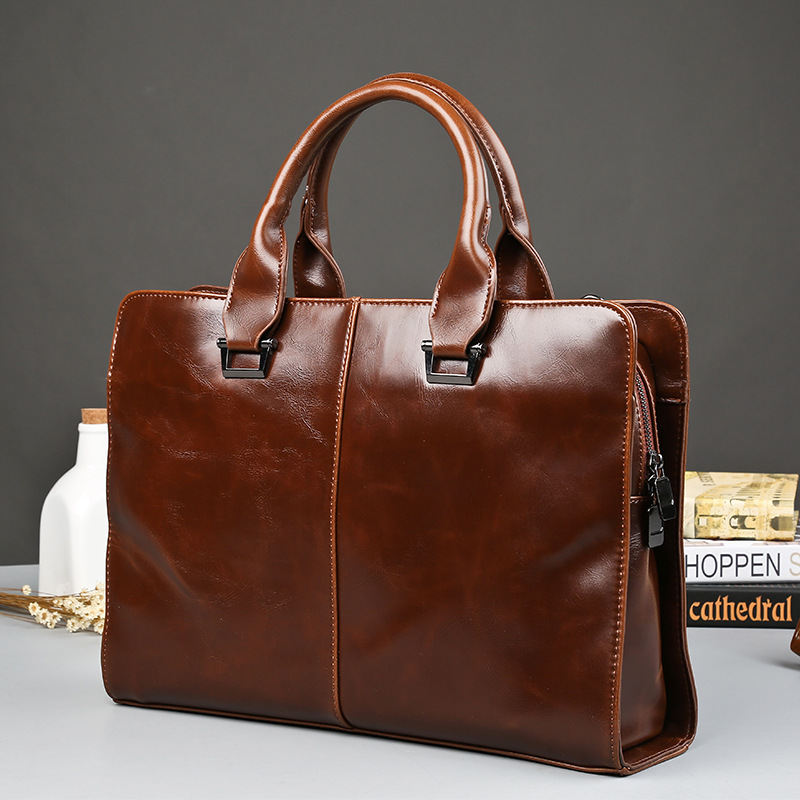 Leather Men's Briefcase Fashion Large Capacity Business Bag Black Male Shoulder Laptop Bag Business Men Leather Bags