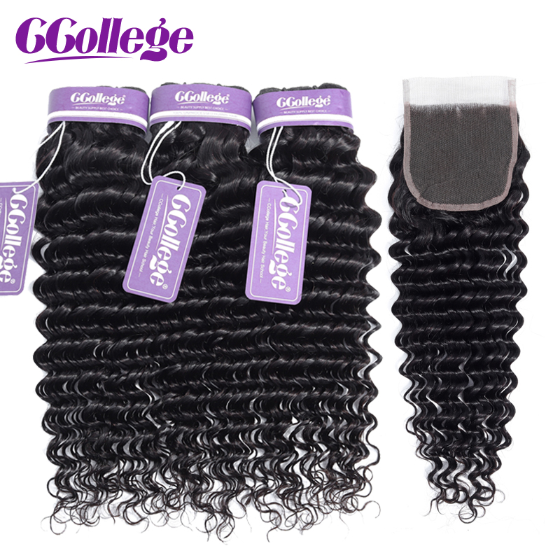Ccollege Brazilian Remy Hair Deep Wave 3Bundles With Closure 4pcs lot 100 Human Hair Weaves With