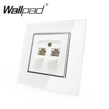 цена на EU Double Tel Socket  Wallpad White Glass Panel EU Style Double Rj11 Tel Phone Jack Port Wall Socket with Claws