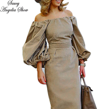 SAUCY ANGELIA Women Winter Dress Fall 2018 Vintage Puff Sleeve Vestidos Femme Long Maxi Stretchy Bodycon Bandage Party Dresses