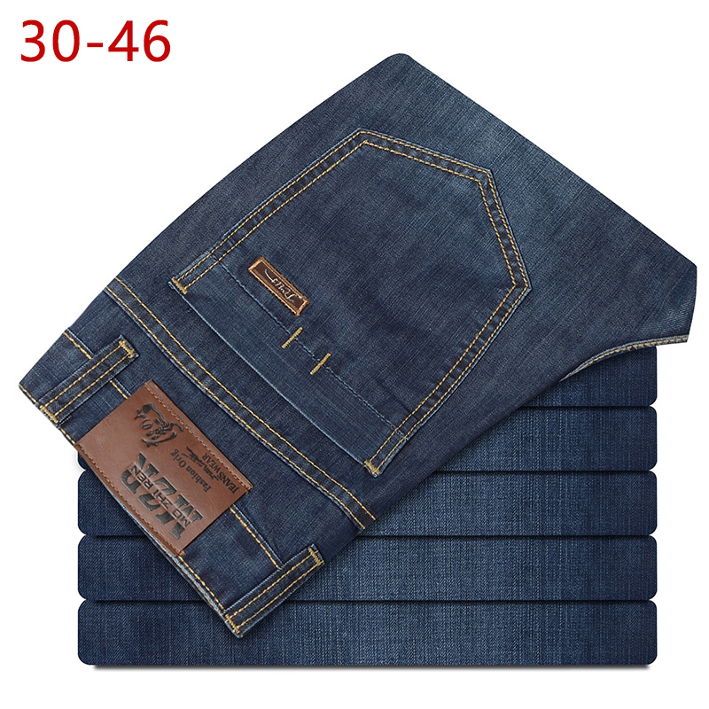 30-46 Large Size Man   Jeans   Casual Lightweight Fashion Stretch Famous Brand Men   Jeans   Long Pants Spring Classic   Jeans   HLX38