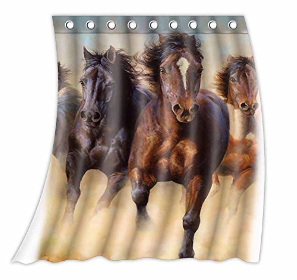 Cheval personnalisé en cours d'exécution modèle rideau Polyester tissu fenêtre rideau taille 52 w x 63 h pouces (une pièce)