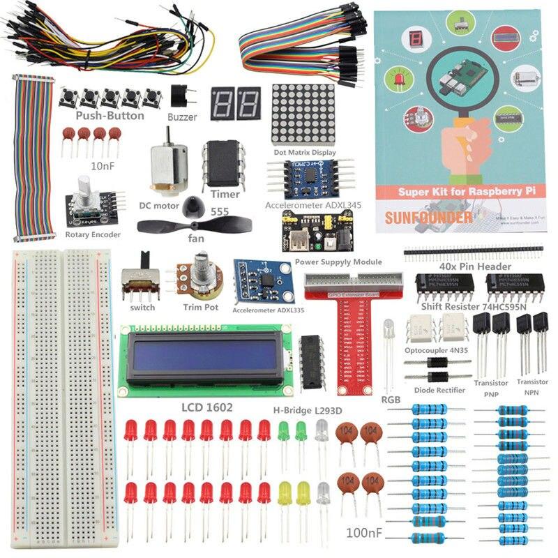 SunFounder Diy Starter Super Kit pour Raspberry Pi 3 2 Module B + Avec CARTE D'extension GPIO Saut Fil (Pi pas inclus)