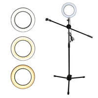 Phone Photography Adjustable 1.3M Floor Photo Stand Tripod Boom Arm 20CM Ring Light Lamp For Live Show Shooting Fill Light