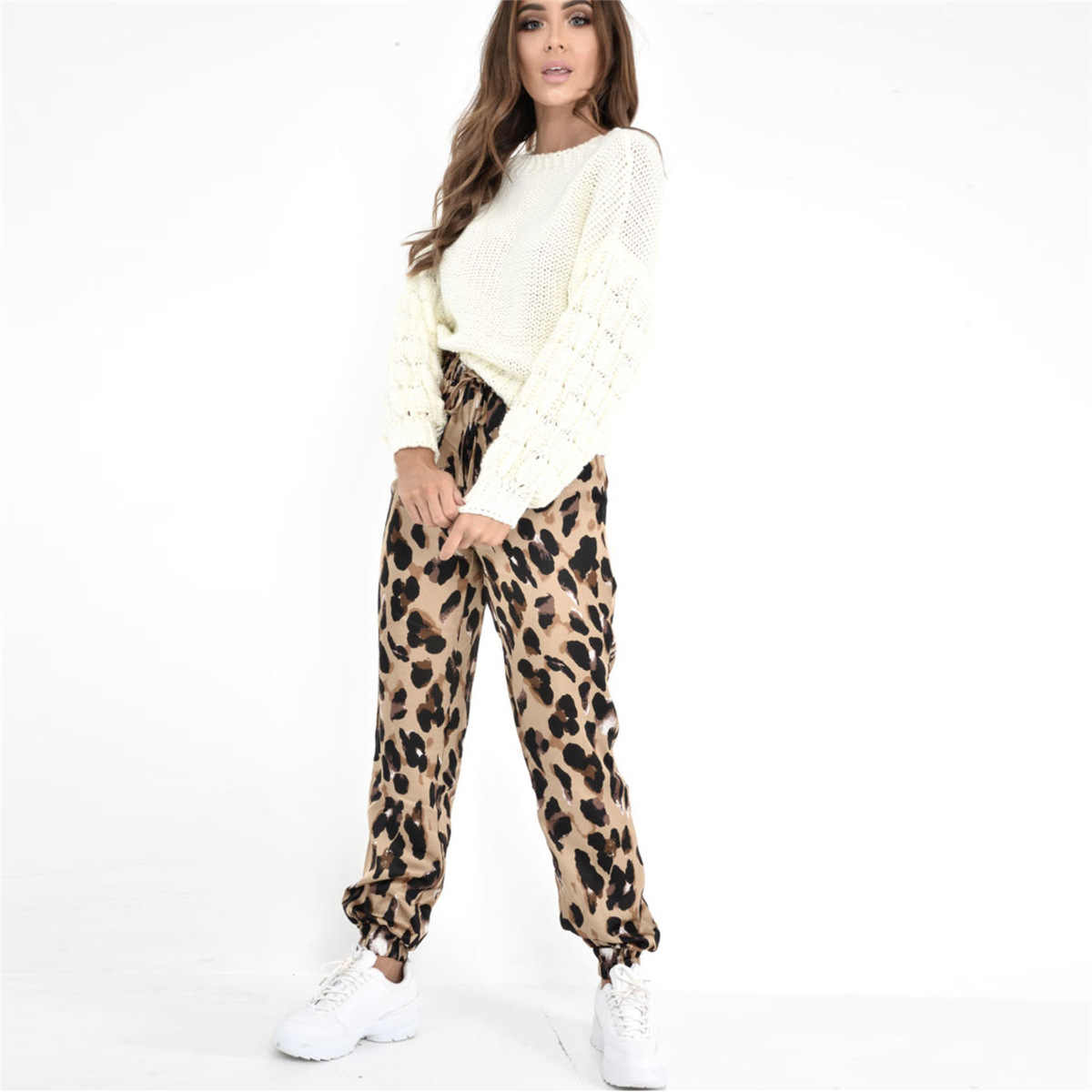 ae637ec47194 ... Satin Silk Leopard Print High Waist Bloom Pants Women Loose Casual  Trousers Fashion Animal Print Bottoms ...