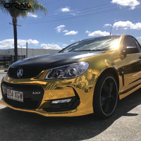 Gold Stretchable Mirror Chrome Vinyl Wrap Car Wrapping Chrome Film Chrome Car Foil Air Bubble Free Size:1.52*20M/Roll