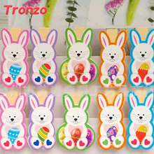 Tronzo Easter Wooden DIY Photo Clips 10pcs/set Handmade Cartoon Bunny Rabbit Wood Photo Clip Birthday Supplies Easter Decoration