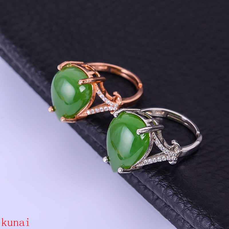 KJJEAXCMY fine jewelry  925 silver inlaid natural jasper ring with two colors to choose fromKJJEAXCMY fine jewelry  925 silver inlaid natural jasper ring with two colors to choose from