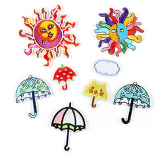 цена на 100pcs Sunshine Umbrella Patches for Clothing Iron On Embroidered Appliques DIY Patch For Clothes Decorative Fabric Badges