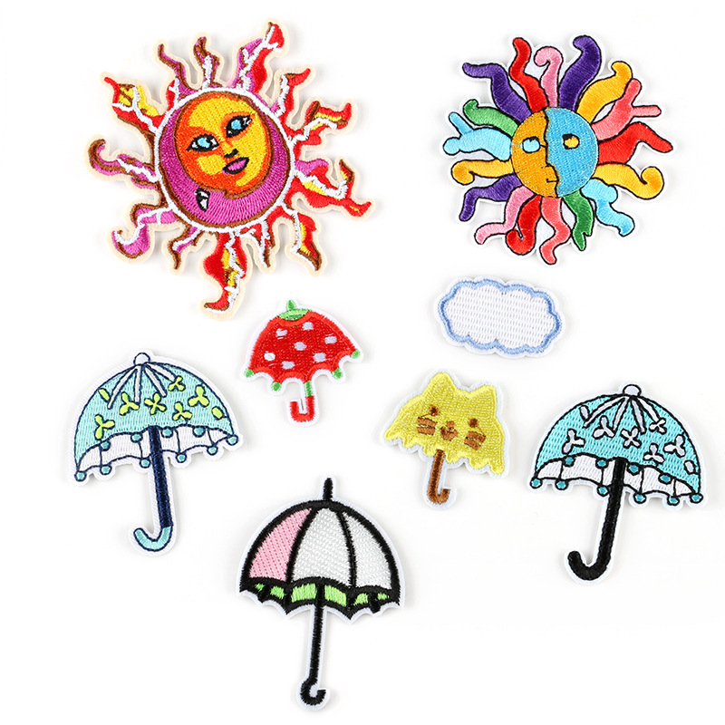 50pcs Colorful Sunshine Badge Repair Patch Embroidered Iron On Patches Clothing Close Shoes Bag Badges Embroidery DIY Sticker