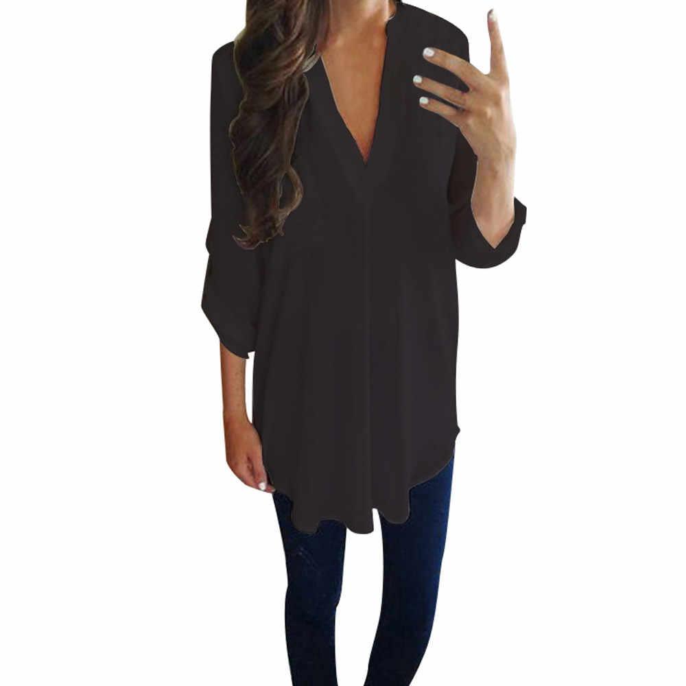 9989dd699ca Винтажная женская шифоновая блузка с v-образным вырезом с длинным рукавом  Женская Туника Повседневная Плюс