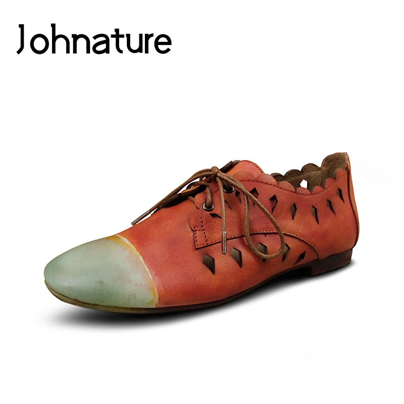 Johnature 2019 New Spring autumn Brogue Shoes Genuine Leather Retro Mixed Colors Hollo Round Toe Lace
