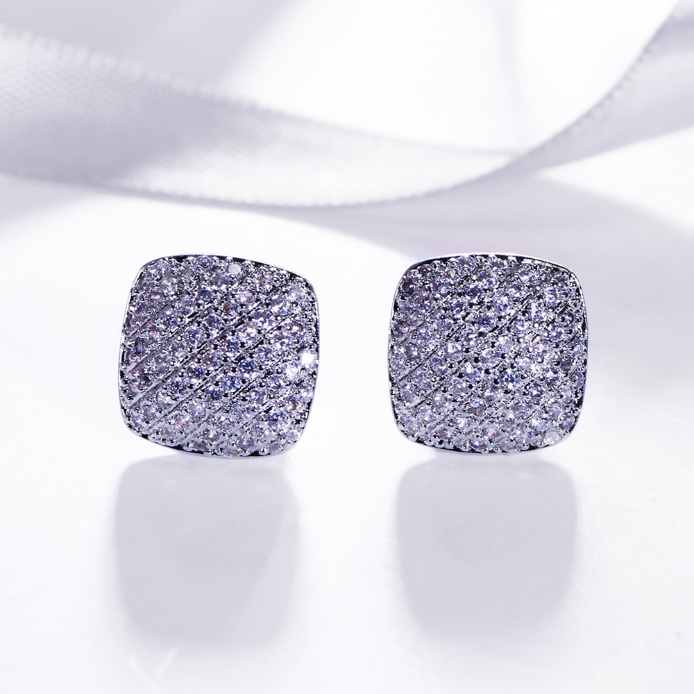 Square stud earrings jewellery brinco micro pave 1.1mm cubic zirconia crystal Women jewelry trend 2018 new white earring ...