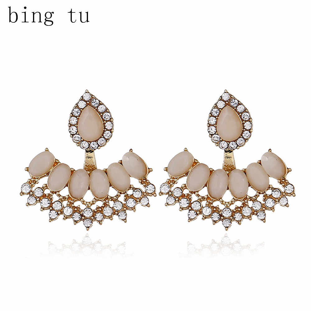 Bing Tu Double Side Resin Earings Rhinestone Water Drop Shape Stud Earrings For Women Front Back Ear Jewelry New brincos