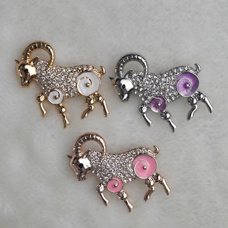 2015 New Fashion sheep Brooches for women Suit Rhinestone Brooch three Colors Classic sheep Broche shijab pins  X1649
