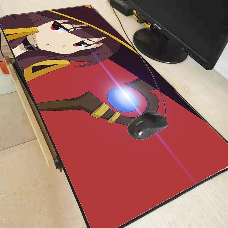 Mairuige Megumin Anime Girls Large Anime Lock Edge Mouse Pad PC Computer Mat Anti-Slip Laptop PC Mice Pad Mat Mousepad Gaming