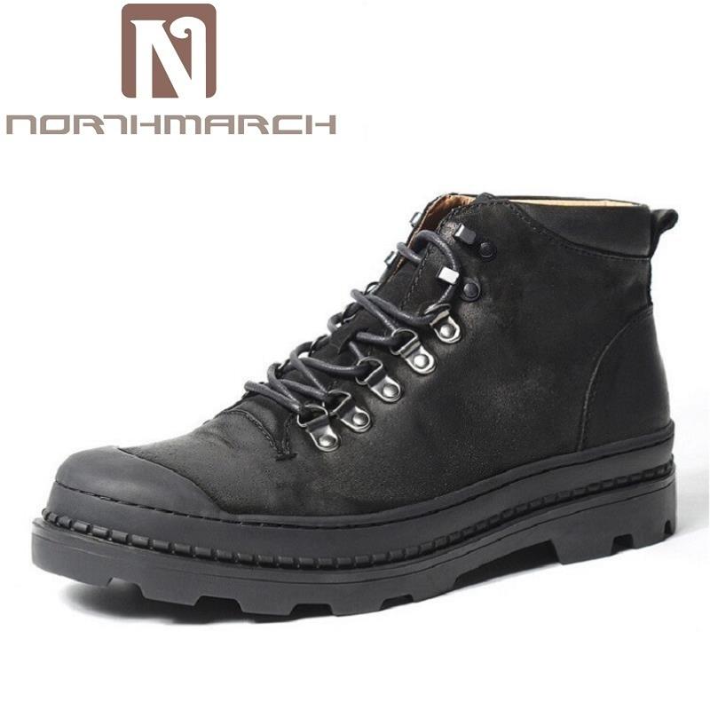 2ed3b18f Hombres De Invierno Moda Botas Botines Lujo Genuino Los Vendimia marrón La  Calidad Cuero Northmarch Del ...