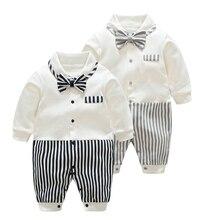 цены на YiErYing Baby Boys Rompers 2018 Spring Autumn Long Sleeve Newborn Clothes Gentleman Cotton Baby Jumpsuits Infant Tracksuit  в интернет-магазинах