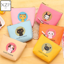 XZP 6 Styles PU Women Coin Purses Lovely Cat Girl Animal Mini Bag Key Ring Case Zipper Wallet Pouch Change Purse Waterproof стоимость