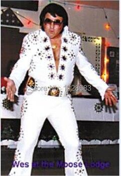 Di alta Qualità di trasporto libero Cliente di trasporto di Fatto Elvis Presley Cosplay Cantante Sala Da Ballo di Ballo del Costume Set Elvis Presley Gli Uomini di Halloween del Costume di Cosplay