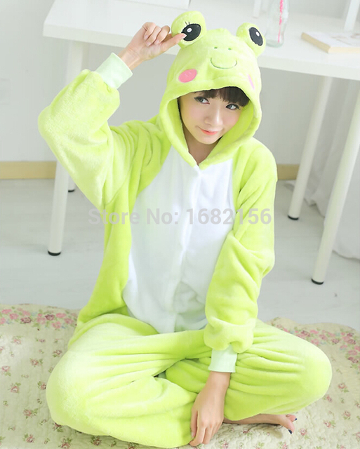 Kigurumi Adult Cute Frog Onesie Unisex Flannel Pajamas Pyjamas Warm Animal  Homewear Cosplay Costume Sleepwear 2e962315e27f1