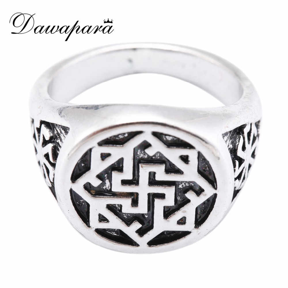 Dawapara Slavic Kolovrat Valkyrie Viking Gothic Ring Female Mens Rings Silver Antique Scandinavian Norse Viking Jewelry